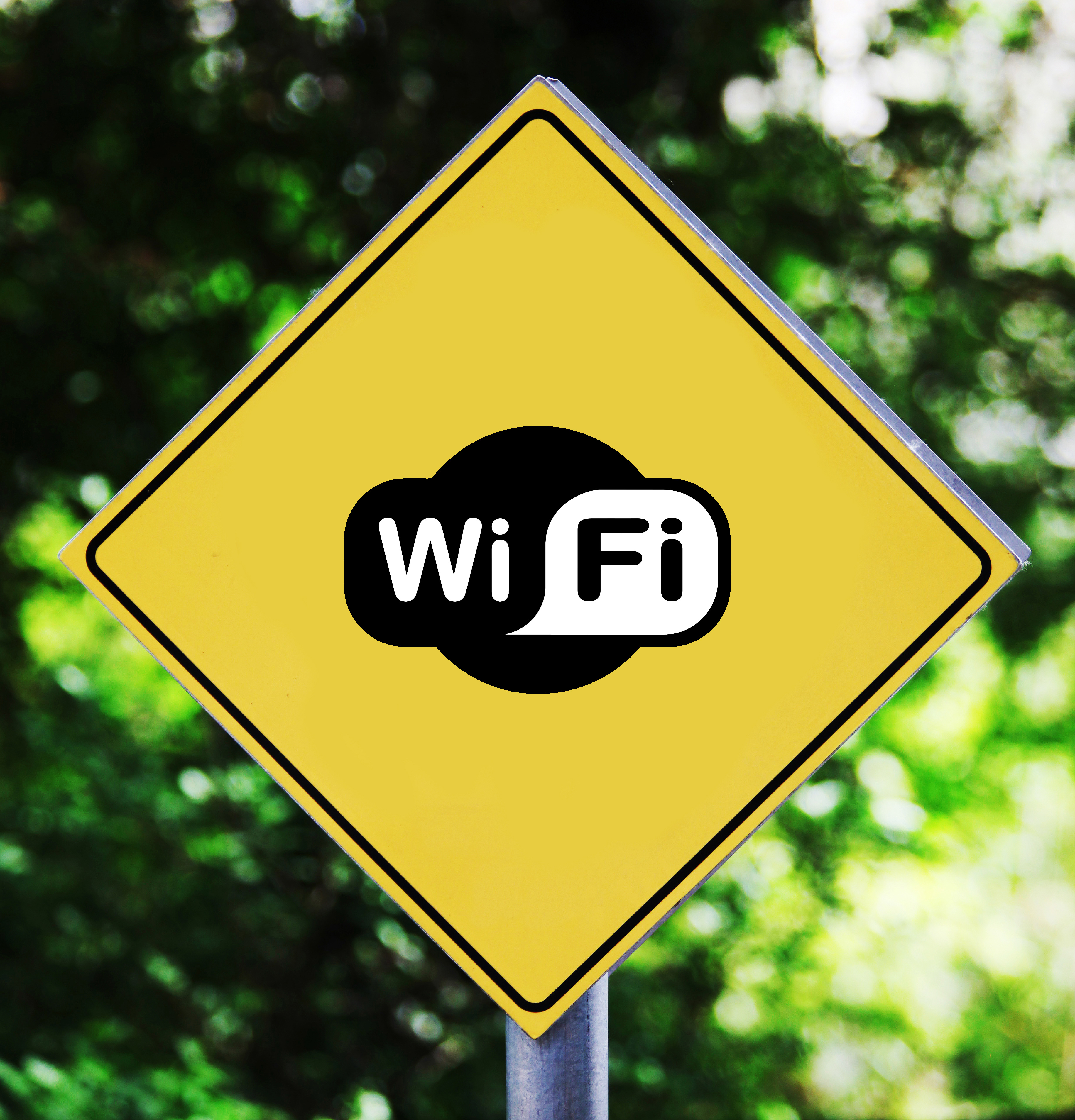 Yellow road sign outdoor with wifi pictogram