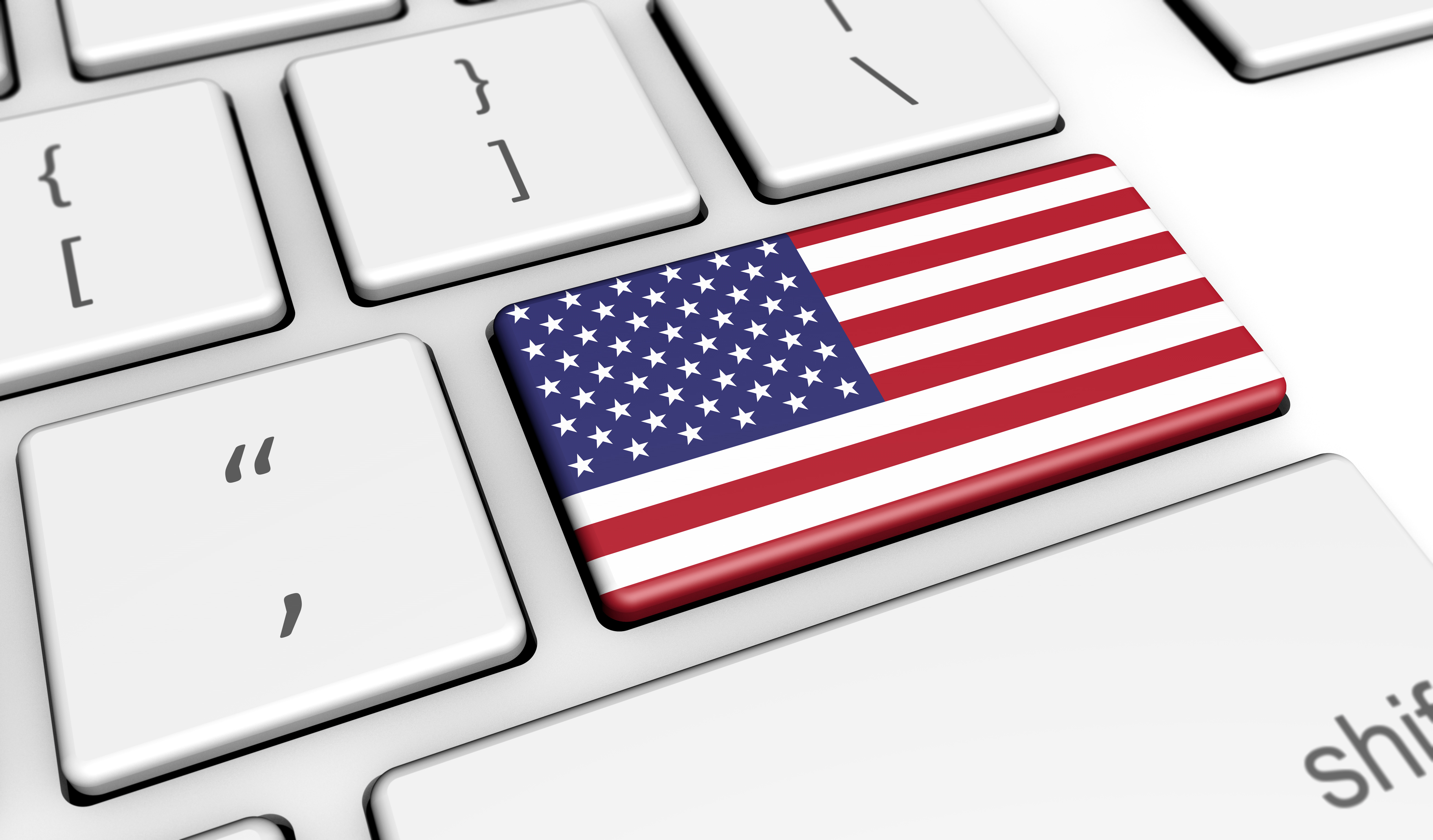 USA Flag On Computer Key